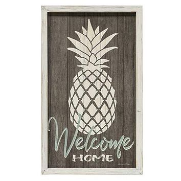 Modern Farmhouse Welcome Home Wall Art With Pineapple Design