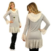 Edged With Beauty Tunic in Grey
