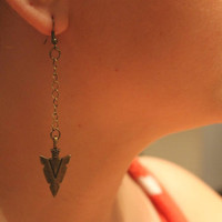 Antique Bronze Arrow Head Chain Earrings by atthedrivein on Etsy