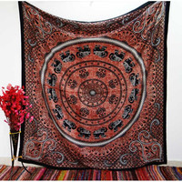 Red Mandala Elephant Wall Hanging Tapestry Bedspread – TheNanoDesigns