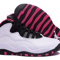 DCCK Air Jordan 10 Retro AJ10 White Black Pink Women Shoes Size US 5.5-8.5