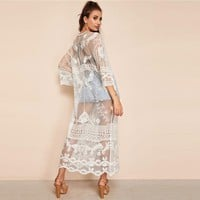 White Trumpet Sleeve Knot Embroidery Mesh Lace Up Long Kimono Women Casual Sheer Maxi Boho Beach Kimono Cardigan