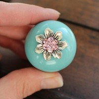 Crystal Drawer Knobs Aqua with Crystal Flower MORE colors (CK56A)