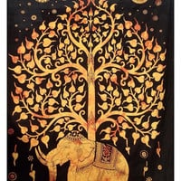 Indian Hippie Elephant Tree of Life Mandalian Hand Screen print Tie-dye Tapestry