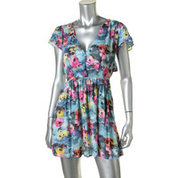 Millau Womens Floral Print Open Back Casual Dress