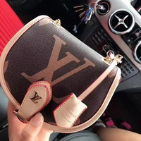 LV hot selling fashion print color coffee brown casual lady slant across a shoulder bag