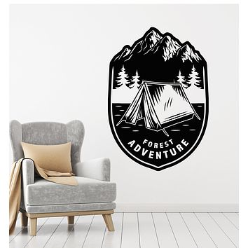 Vinyl Wall Decal Tent Camp Forest Adventure Mountains Landscape Stickers Mural (g2576)