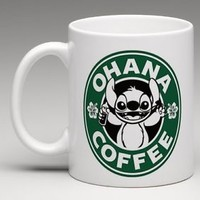 CUSTOM MADE Starbucks Disney Lilo and Stitch Ohana Coffee Mug Tea Cup