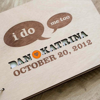 Custom Handmade Wooden Rustic Wedding Guest Book (I Do)