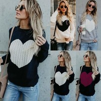 Women Casual O-neck Long Sleeve Heart Knitted Sweater Long Sleeve Loose Pullover