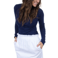 Scalloped Seersucker Skirt in White by Lauren James