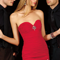 Alyce Paris 4387 - Red Ruched Strapless Beaded Prom Dresses Online