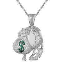 Silver Bling World Globe with Dollar Money Bag Custom Pendant