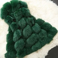 Emerald Green Plush Faux Fur Sleeveless Coat Vest