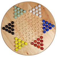Wood Chinese Checkers Set w/ Marbles, Indoor Games