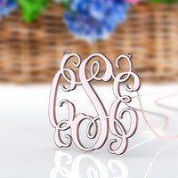 Large size 1.5 inch monogram  necklace 3 initial necklace--personalized nameplate monogram necklace