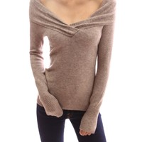 PattyBoutik Wide Shawl Collar V Neck Long Sleeve Ribbed Hem Pullover Sweater Top