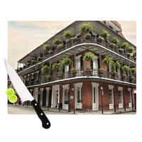 """Sylvia Cook """"New Orleans Street Corner"""" Green Brown Cutting Board"""