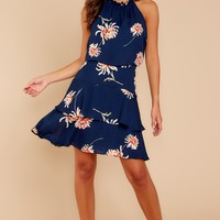 Friendly Reminder Navy Floral Print Dress