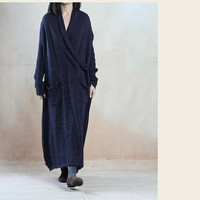 Women linen dress cotton  maxi dress winter dress Casual dress/Loose Fitting dress/Long Sleeve dress autumn clothing plus size dress
