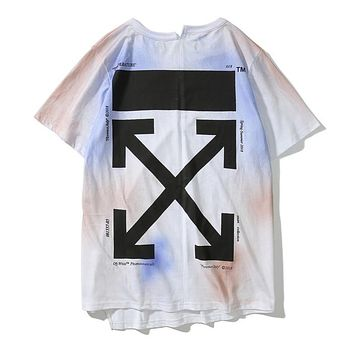 OFF WHITE Fashion Women Men Tie-Dye Print Short Sleeve T-Shirt Top