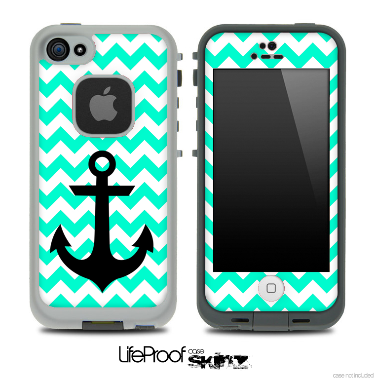 Image of Trendy Light Green/White Chevron with Black Anchor Skin for the iPhone 5 or 4/4s LifeProof Case