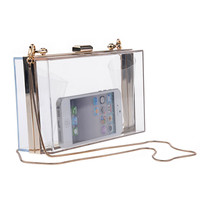 Women Transparent / Lace Acrylic Perspex Clutch Clear Purse Evening Bag Handbag