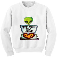 White Alien Pizza Sweatshirt