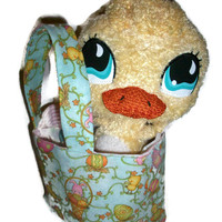 Mint Green Mini Tote with LPS Duckie in Easter Pastel Print
