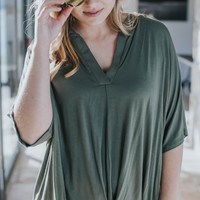 Feet On The Ground V-Neck Top, Olive