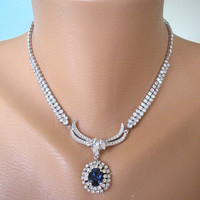 Sapphire Bridal Necklace, Mother of the Bride, Navy Blue, Rhinestone Choker, Montana Blue, Bridesmaid Gift, Bridal Jewelry, Something Blue