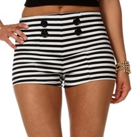 Striped Button Front Shorts