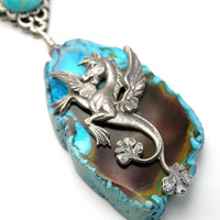 Pegasus Necklace, Mythical Creature, Horse, Wings, Flying Horse, Hippocampus