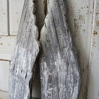 Distressed gray wooden angel wings accented in white wall hanging home decor