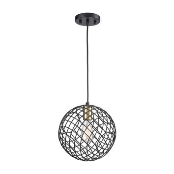 Yardley 1-Light Mini Pendant in Matte Black and Satin Brass with Wire Cage