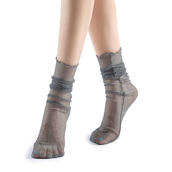 Diamond Sheer Crew Sock | Grey
