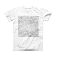 The White Scratched Marble ink-Fuzed Front Spot Graphic Unisex Soft-Fitted Tee Shirt