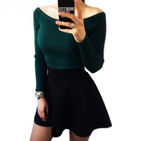 2017 Colorful Apparel Autumn and Winter basic Women Sweater slit neckline Strapless Sweater thickening sweater