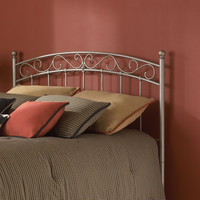 Queen Size Arched Metal Headboard with S-Shaped Details
