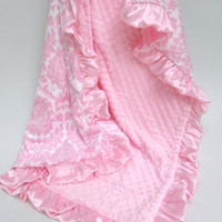 SALE Pink Damask Minky Blanket for a Baby Girl, Can Be Personalized