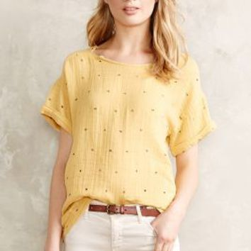 Gilded Gauze Tee by Anthropologie Gold