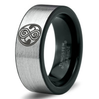 Dr Who Ring Doctor Time Lord Design Gallifrey Symbol Ring Mens Fanatic Geek Sci Fi Jewelry Boys Girl Womens Ring Fathers Day Gift Holiday Tungsten Carbide 113