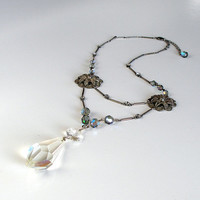 Assemblage Victorian Necklace, Antique Crystal Chandelier Pendant Necklace, Silver Filigree, Recycled Crystal Teardrop Pendant.