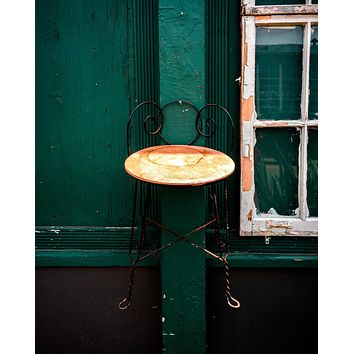 Pull Up One : A Chair on a Green Wall Abandoned Print