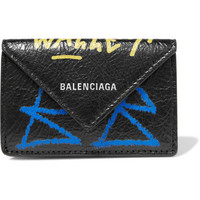 Balenciaga - Paper mini printed textured-leather wallet