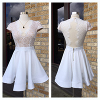 A Lace Flare Party Dress in Swan White