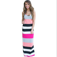 Striped Print Maxi Dress 10140