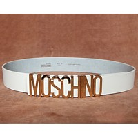 Moschino Fashion new hot sales metal letter belt decoration women White