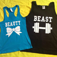 Free Shipping for US Beauty And The Beast Valentine's Day Matching Couples Tank Tops/Shirts: Black&Turquoise Different Version