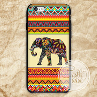 elephant Aztec colorfull iPhone 4/4S, 5/5S, 5C Series, Samsung Galaxy S3, Samsung Galaxy S4, Samsung Galaxy S5 - Hard Plastic, Rubber Case